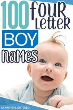 4 letter boy names that are perfect for your handsome and tough baby boy! There are plenty of options with these baby names - and they include origins and meanings too! #mommyenlightened #boynames #babynames Nature Names For Boys, Cool Baby Boy Names, Unique Boy Names, Girl Names, Baby Names And Meanings, Names With Meaning, Biblical Names, Unisex Name, Baby Health