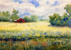 """Red Barn with Silo"" - Original Fine Art for Sale - � Judy Mudd--to linda> note the 'field'"
