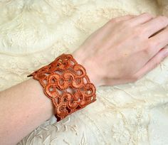 lace bracelet cuff AARON ombre rust by tinaevarenee on Etsy, $25.00