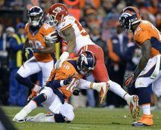 Manning for the tackle! Denver Broncos