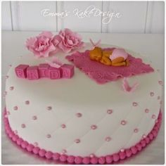 Emmas KakeDesign: Head to the blog for a DIY tutorial on how to make a lovely pink Christening cake with sleeping baby. Instagram @emmaskakedesign Pink Christening Cake, Baptism Cakes, Cake Tutorial, Diy Tutorial, Diy Step By Step, Sweets, Snacks, Shower Ideas, Desserts