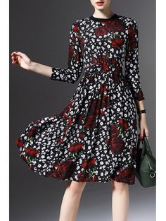 SHARE & Get it FREE | Printed Round Neck 3/4 Sleeve Waisted DressFor Fashion Lovers only:80,000+ Items • New Arrivals Daily Join Zaful: Get YOUR $50 NOW!