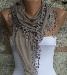 Beige   Shawl Scarf  Headband Necklace Cowl by fatwoman on Etsy, $17.00