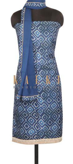 Indigo blue unstitched suit in contrast hem line only on Kalki