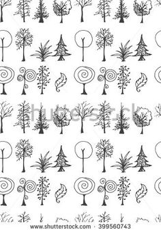 Set of tree doodles seamless Set of tree doodles seamless Tree Drawing Simple, Simple Tree, Small Drawings, Easy Drawings, Cartoon Trees, Botanical Line Drawing, Tree Sketches, Christmas Doodles, Little Doodles
