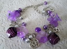 Lavender Flower Pentacle Charm Bracelet, wiccan jewelry pagan jewerly wicca witch witchcraft gypsy metaphysical new age pentagram mystic on Etsy, $22.00