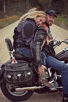 Beautiful country photography with the happy couple! posing on the motorcycle!