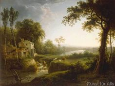 William Ashford - River Landscape with Cattle by a Watermill