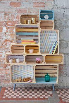 Fruit box shelves pallets 70 ideas for 2019 Wooden Box Shelves, Wooden Boxes, Crate Shelves, Crate Furniture, Furniture Makeover, Diy Home Decor, Room Decor, Fruit Box, Fruit Fruit