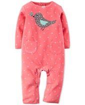 Carter's Baby Girls' Microfleece Pink Dot Bird Coverall