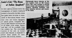 """Lantz's café 1938--for the longest time it appears the word spaghetti was prefaced by the word """"Italian."""""""