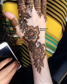 Henna Design By Fatima Henna Hand Designs, Mehndi Designs Finger, Modern Henna Designs, Floral Henna Designs, Mehndi Designs For Girls, Mehndi Designs For Beginners, Mehndi Designs For Fingers, Latest Mehndi Designs, Henna Tattoo Designs