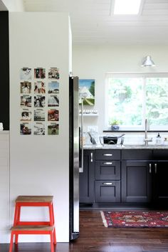 Fridge Side Panel in Tuxedo Kitchen (featuring family photo display)