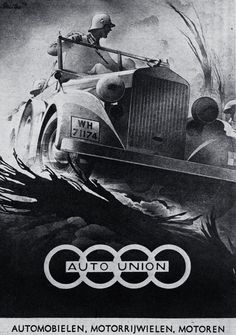 Auto Union Graphic by Bernd Reuters Vintage Advertisements, Vintage Ads, Vintage Posters, Car Illustration, Illustrations, Ww2 Propaganda Posters, Auto Union, German Soldiers Ww2, Poster Ads