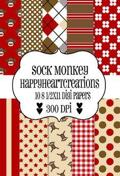 sock monkey digital scrapbook papers