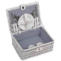 Wicker picnic basket for 2 in white finish. Set includes: plates, cups, forks, knifes and spoons Product size 36 x 24 x 16 Branding size 4 x Wicker Picnic Basket, Gadget Gifts, Knifes, Forks, Spoons, Cups, Branding, Plates, Outdoor