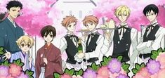 "List of Ouran High School Host Club characters Anime screenshot featuring the Host Club members dressed as caterers. From left to right: ""Mori"", ""Honey"", Haruhi, Kaoru and Hikaru, Tamaki and Kyoya."