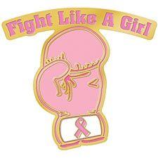 "Pink Ribbon ""Fight Like A Girl"" Lapel Pin"