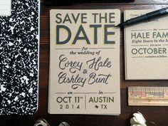 Save the Date, wedding, type, lettering, austin, tx, dribbble, print, design, craft, grey