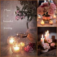 """Pink candles, """"Have a wonderful evening"""" mood/color collage pixels Good Night Greetings, Good Night Messages, Good Night Wishes, Good Night Sweet Dreams, Good Morning Good Night, Good Night Quotes, Bougie Partylite, Collages, Estilo Shabby Chic"""