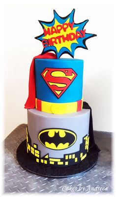 Batman and Superman Birthday Cake.