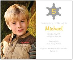 Here comes the sheriff! Cowboy Party Invitations, Cowboy Birthday, Sheriff, Ecommerce Hosting, Rsvp