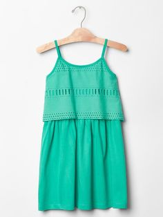 Layered eyelet tank dress Teal/navy Also in coral