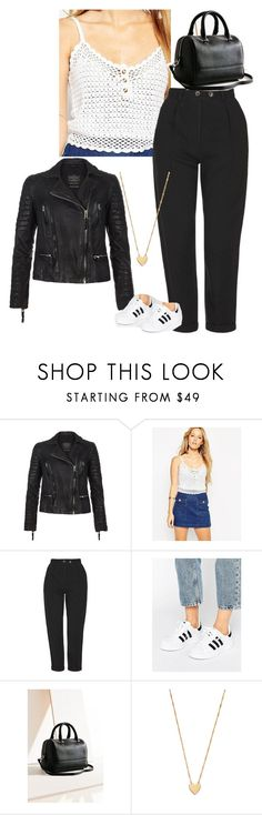 """""""goji"""" by grace-geller ❤ liked on Polyvore featuring AllSaints, ASOS, Topshop, adidas, Cooperative and Jennifer Zeuner"""