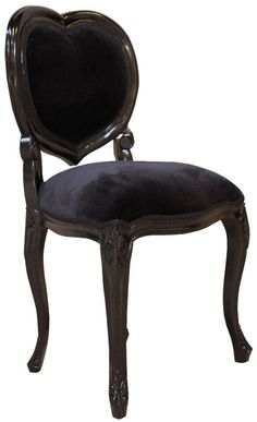 French Noir Black Painted 'Heart' Chair I would even use it as a vanity chair Gothic Furniture, Furniture Decor, Furniture Stores, Cheap Furniture, Painted Furniture, Vanity Set With Lights, Gothic Vanity, Bedroom Vanity Set, Gothic House