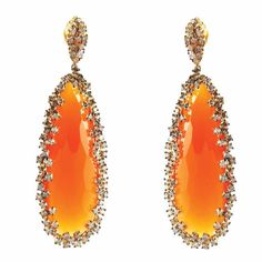 Suzanne Kalan orange chalcedony and white sapphire earrings