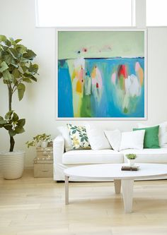GICLEE print blue abstract painting with green and von LolaDonoghue