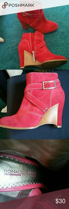 Donald Pliner Suede booties Adorable Red Suede booties Donald J. Pliner Shoes Ankle Boots & Booties