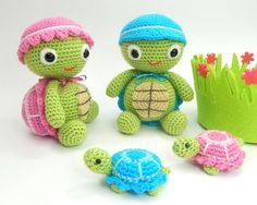 Tommy and Tammy Tortoise - Amigurumi Crochet Pattern (Available in English Language Only) With a warm hat, a cozy shell and their favorite toy tortoises in tow, Tommy and Tammy often head off on grand adventures for days at a time. Due to their slow pace they never manage to get very