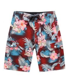 f993979c28 Men's Beach Wear Board Shorts With Pocket In Red Hula Girl Cocktail -  CD12BUTLI2F,Men's
