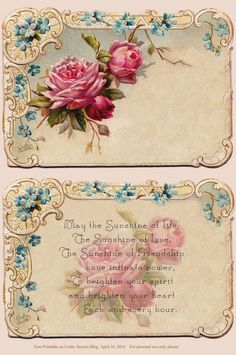 Beautiful Free Antique Rose Card and Poem (for personal use only).  Also see Mother's Day Gift and Card Ideas, Sale and Free Printables!  This image is from 2008 but was lost in cyberspace and re-posted on the CraftySecrets Blog.