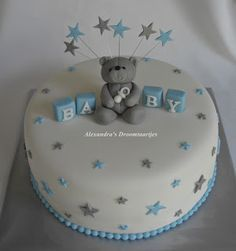 Made this blue silver white baby shower cake for a baby shower. - Made this blue silver white baby shower cake for a baby shower. Baby Shower Cakes For Boys, Baby Boy Cakes, Baby Shower Desserts, Baby Shower Parties, Baby Shower Themes, Baby Boy Shower, Babyshower Party, Baby Party, White Baby Showers
