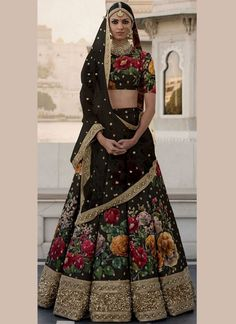 Latest Collection Ethnicmode Indian Black color Fine Art Silk Fabric Designer Wedding Wear Bridal Lehenga Choli with Embroidery Work. A New arrival in women's Lehenga Choli. Black Lehenga, Indian Lehenga, Bridal Lehenga Choli, Silk Lehenga, Floral Lehenga, Lehenga Kurta, Lehenga Wedding, Lehenga Blouse, Costumes