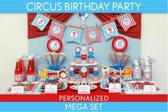 Circus Birthday Party Package Collection Set Mega Personalized Printable // Circus Carnival - B31Pz2. $35.00, via Etsy.
