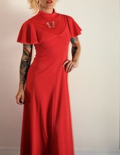 Vintage 70s Bright Coral Butterfly Maxi Dress with by FreshVintage, $29.00