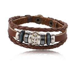 Bohemian Leather Bracelet Bohemian designs friendship leather bracelet decorated with beads and Swarovski element crystals, snap button closure $49.99 #jewelry #fashion #leather #bracelet