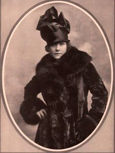1916 lady in latest cold-weather fashion. From Inside the Vintage Hatbox, FB.