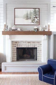 Lettered Cottage Living Room The Fireplace With Wood Mantlefireplace