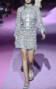 NY Fashion Week, preorder Marc Jacobs Spring/Summer 2015 Trunkshow Look 40 - Putty Diagonal Embroidery Shirt Dress