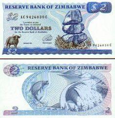 Zimbabwe  2 Dollars 1994 (Water buffalo) Money Images, Money Notes, Two Dollars, Zimbabwe, Coin Collecting, Ian Smith, Water Buffalo, Stamp, Nostalgia