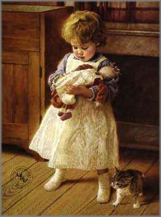 Playmates by nostalgic family artist Jim Daly and art prints depicting children can be found at Christ-Centered Art. Illustration Photo, Illustrations, Art Pictures, Photos, Country Art, Beautiful Paintings, American Artists, Vintage Children, Cat Art