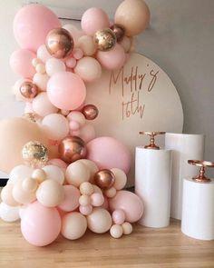 Pastel Balloons, Rose Gold Balloons, White Balloons, Confetti Balloons, Gold Confetti, Balloon Backdrop, Balloon Garland, Balloon Wall, Balloon Columns