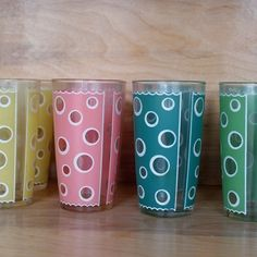vintage drinking glasses | Vintage Polka Dot Drinking Glasses by copperpennyvintage on Etsy
