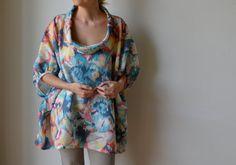 Pastel ikat floral linen smock top tunic Plus size by MuguetMilan, $180.00