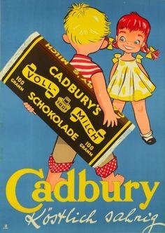 "Retro Styles Original Vintage Chocolate German Ad Poster ""Cadbury's schokolade"" by Sim - Vintage Food Posters, Vintage Advertising Posters, Old Advertisements, Retro Posters, Advertising Signs, Pub Vintage, Vintage Candy, Retro Vintage, Vintage Images"