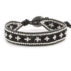 Chan Luu - Black Beaded Single Wrap Bracelet on Natural Black Leather, $140.00 (http://www.chanluu.com/bracelets/black-beaded-single-wrap-bracelet-on-natural-black-leather/)